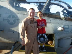 Marine Captain and Josiah In Front of Cobra Helicopter