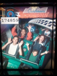 Justin, Josiah, Tim, and Jeri on the California Screamin