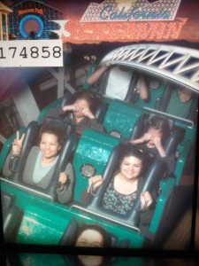 Victoria and Elizabeth on the California Screamin. They are in the back row covering their eyes for the picture.