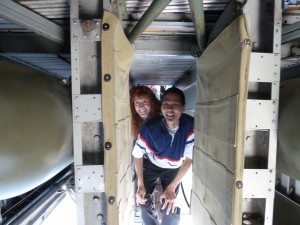 Jeri and Tim in a B-24. Click for full size.