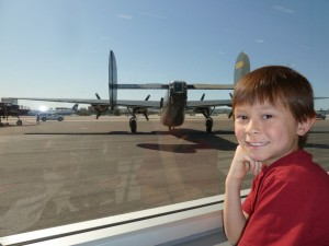 Josiah and a B-24. Click for full size.