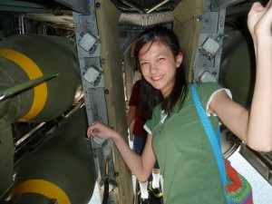 Lizzie in a B-24. Click for full size.
