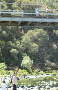 Jeffrey and Jason on Bridge over Merced River Recreation Area. Click photo for full size.