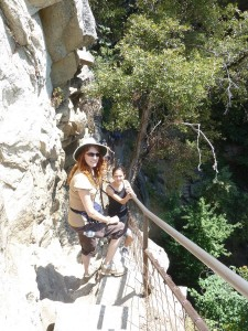 Jeri and Lizzie Descending from the Top of Vernal Fall. Click on photo for full size.