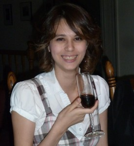 Joanna Having a Drink on Her 21st Birthday. Click on photo for full size.