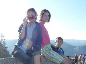 Lizzie, Sarah, and Josiah at Glacier Point. Click for full size.