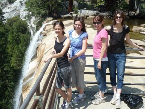 Lizzie, Victoria, Nicole, and Joanna at the Top of Vernal Fall. Click on photo for full size.