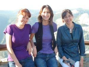 Nicole, Joanna, and Victoria at Glacier Point. Click for full size.