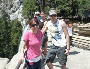 Nicole, Lizzie, and Jason at the Top of Vernal Fall. Click on photo for full size.