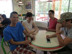 Tim, Jeffrey, Justin, and Jason Waiting for Lunch at Del Taco. Click for full size.