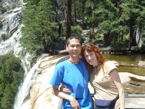 Tim and Jeri at the Top of Vernal Fall. Click on photo for full size.