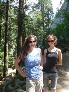 Victoria and Lizzie Starting up Mist Trail. Click on photo for full size.