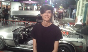 Jeffrey Next to the Back to the Future Car. Click photo for full size.