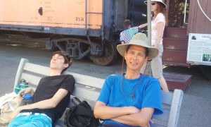 Jeffrey and Tim Resting in the Railroad Area. Click photo for full size.