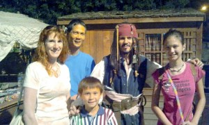 Jeri, Tim, Josiah, and Lizzie with Captain Jack. Click photo for full size.