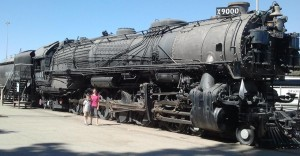 Josiah and Lizzie Next to a Huge Union Pacific Engine. Click photo for full size.