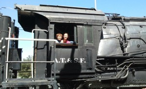 Josiah and Lizzie as Train Engineers. Click photo for full size.