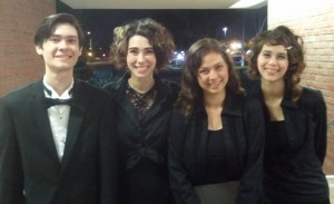 Jeffrey, Sarah, Victoria, and Joanna after the Beethoven Concert. Click photo for full size.