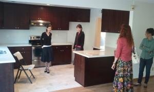Lizzie, Nicole, Jeri, and the Realtor In the new kitchen. Click for full size.