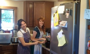 Victoria and Jeri Helping in the Kitchen. Click for full size.