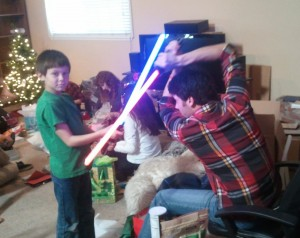 Josiah and Jason in a Star Wars battle. Click for full size.