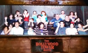 Hollywood Tower Hotel. Back row from left: Victoria, Joanna, Jessica, and Jeri. Middle row from left: Jeffrey, Sebastian, Josiah, and Jason. Click photo for full size.