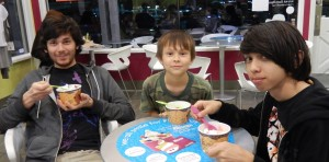 Jason, Josiah, and Sebastian at Menchie's. Click photo for full size.