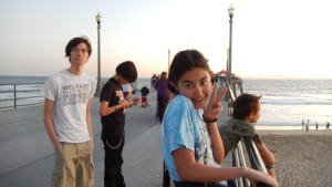 Jeffrey, Sebastian, Jessica, and Josiah on the Huntington Beach Pier. Click photo for full size.