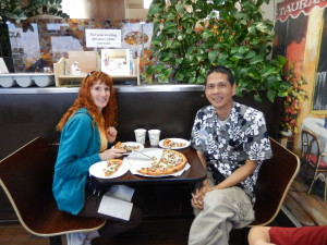 Jeri and Tim with their vegan Philly Cheez Steak Pizza. Click photo for full size.