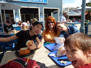Jessica, Jeri, Lizzie, and Josiah at Pacific Wharf Cafe. Click photo for full size.