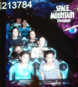 Jessica, Lizzie, Josiah, Sarah, Jeffrey, Sebastian, Jeri (hidden), and Tim on Space Mountain rollercoaster. Click photo for full size.