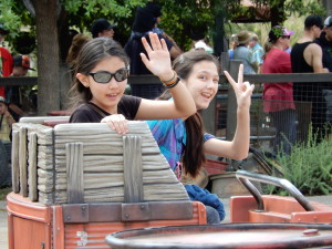 Jessica and Lizzie on Mater's Junkyard Jamboree. Click photo for full size.