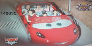 Joanna, Josiah, Jessica, Stranger, Victoria, and Nicole on Radiator Springs Racer. Click photo for full size.