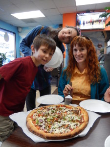 Josiah, Lizzie, and Jeri at Vegan Pizza. Click photo for full size.