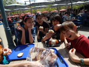 Lizzie, Jessica, Sebastian, and Josiah at Pacific Wharf Cafe. Click photo for full size.