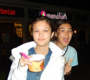Lizzie and Jessica Outside of Menchie's. Click photo for full size.