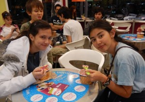 Lizzie and Jessica at Menchie's. Click photo for full size.