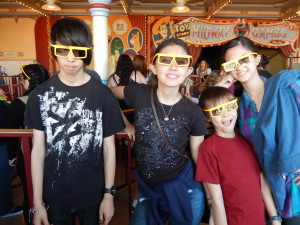 Sebastian, Jessica, Josiah, and Lizzie at Toy Story Midway Mania. Click photo for full size.