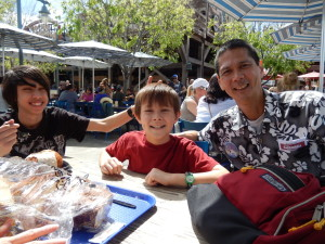 Sebastian, Josiah, and Tim at Pacific Wharf Cafe. Click photo for full size.