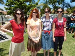 Joanna, Jeri, Nicole, and Lizzie Outside of Greenbrook Pool at Fourth of July Celebration. Click photo for full size.