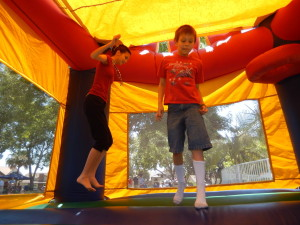 Lizzie and Josiah in the Bounce House. Click photo for full size.