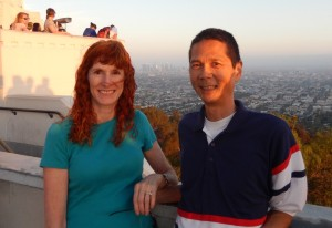 Jeri and Tim at the Griffith Observatory with downtown LA in the background. Click photo for full size.