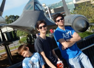 Josiah, Jeffrey and Jason in front of the SR-71 trainer. Click photo for full size.