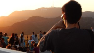 Justin taking a photo at the Griffith Observatory with the Hollywood sign in the background. Click photo for full size.