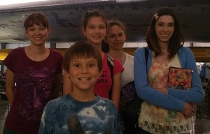 Nicole, Josiah, Lizzie, Victoria, and Sarah in front of the Endeavour. Click photo for full size.