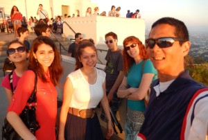 Selfie of Lizzie, Joanna, Victoria, Justin, Jeri, and Tim at the Griffith Observatory. Click photo for full size.