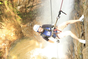 Jeri Rappelling Down Next to the Waterfall. Click photo for full size.