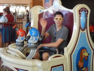 Justin Ready to Get High Score of the Day on Midway Mania. Click photo for full size.