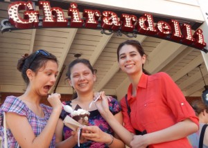 Lizzie, Victoria, and Joanna Outside of Ghirardelli. Click photo for full size.