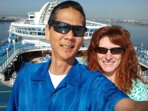A Selfie on the Topmost Deck of the Crown Princess. Click photo for full size.